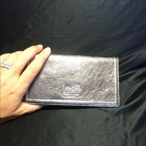 For Fred: Silver Leather Coach Checkbook Cover